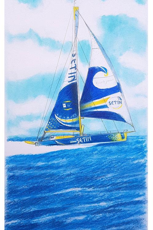 Groupe Setin Portrait de voilier du Vendée Globe 2020 Collection format 40 X20 cm reproduction