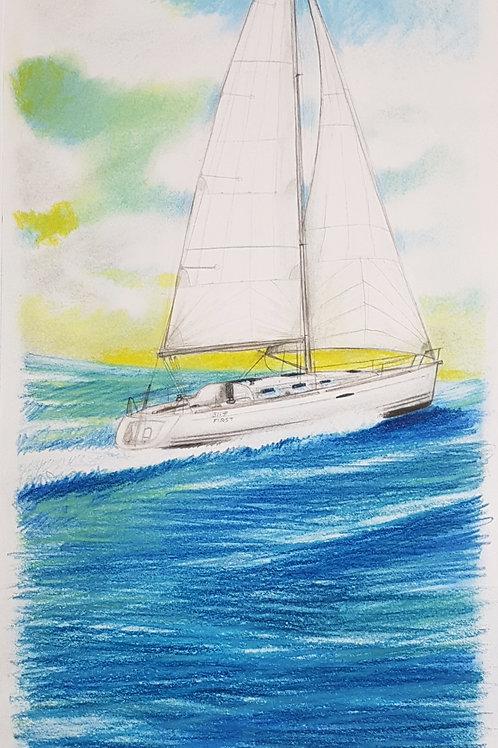 Le portrait personnalisé de votre voilier, dessin original, sur demande