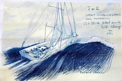 Dessin grand format, pièce unique, Vendée Globe 96/97