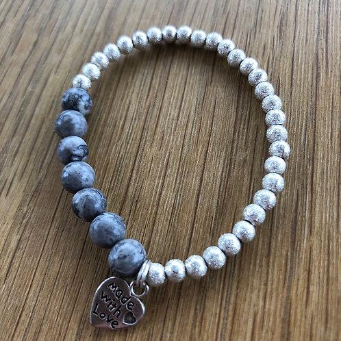 Pretty Handmade Grey and Silver Childs Bracelet