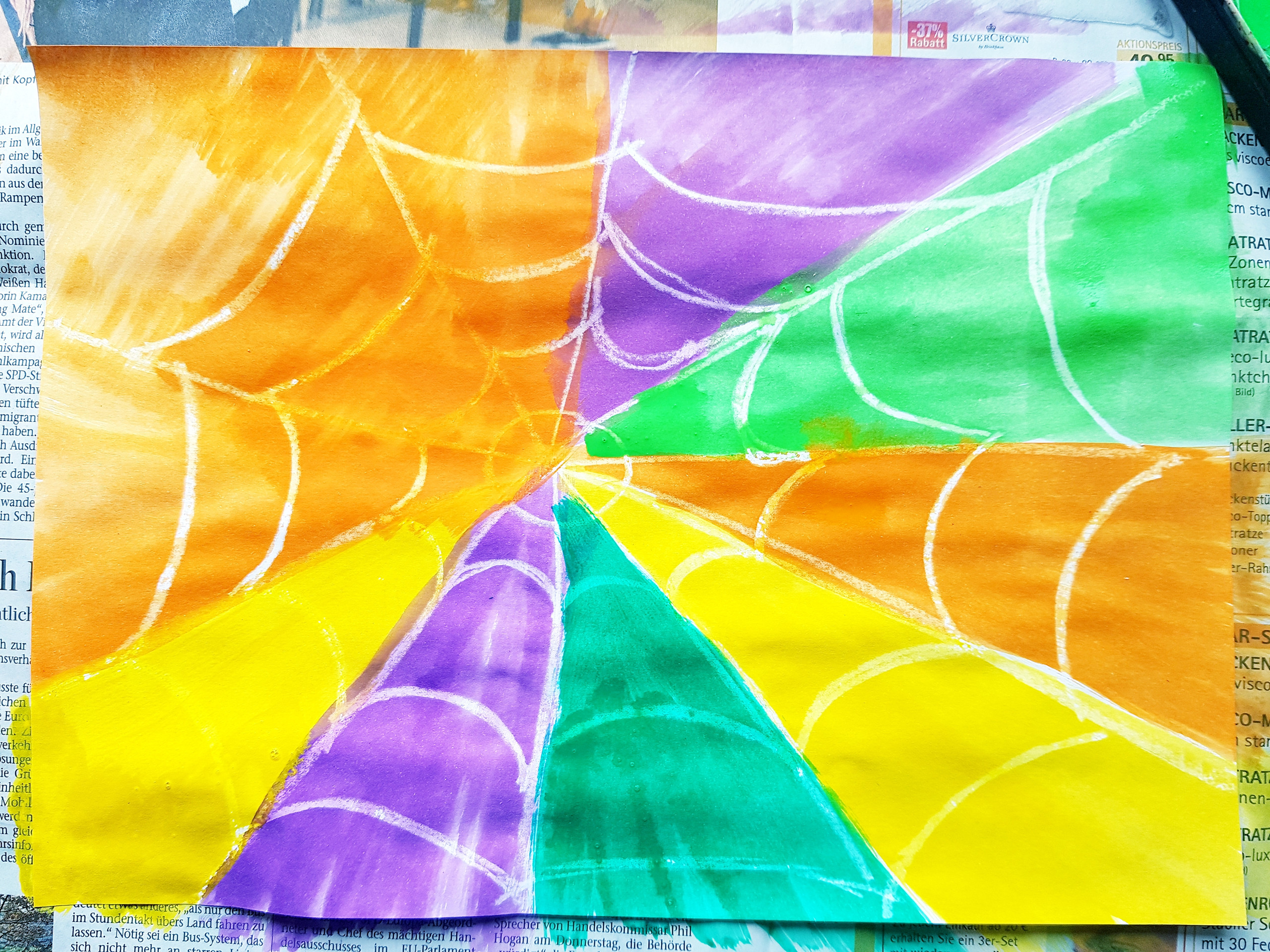 Spider Web Art Project for Kids, crayon resistant art