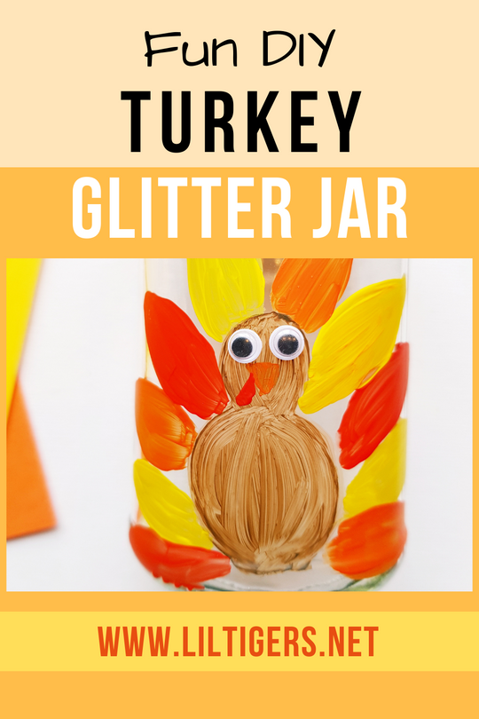 DIY Thanksgiving Turkey Glitter Jar for Kids