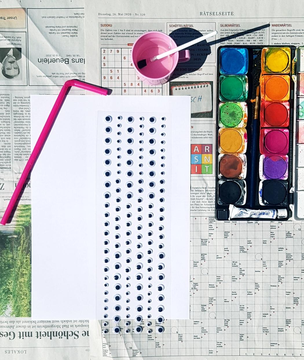 Material list for watercolor monster art for kids