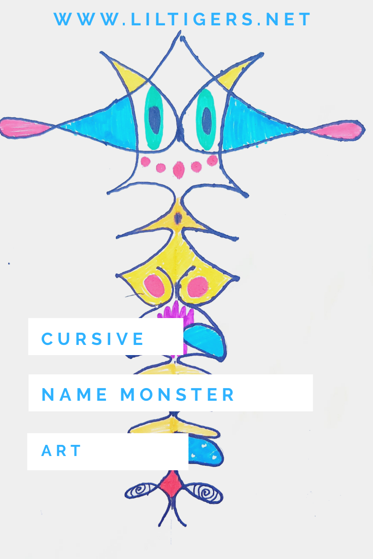 Cursive writing name monster art for kids