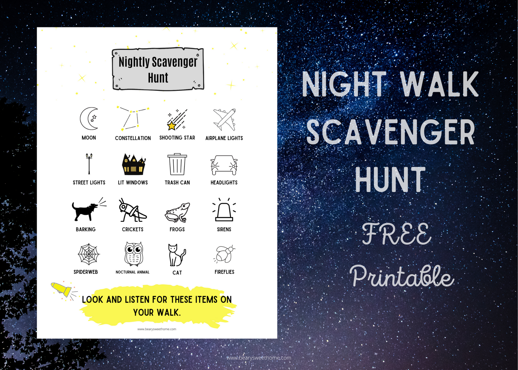 Night walk scavenger hunt for kids