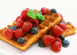 Rusty and Roses Catering Waffles with fresh fruit