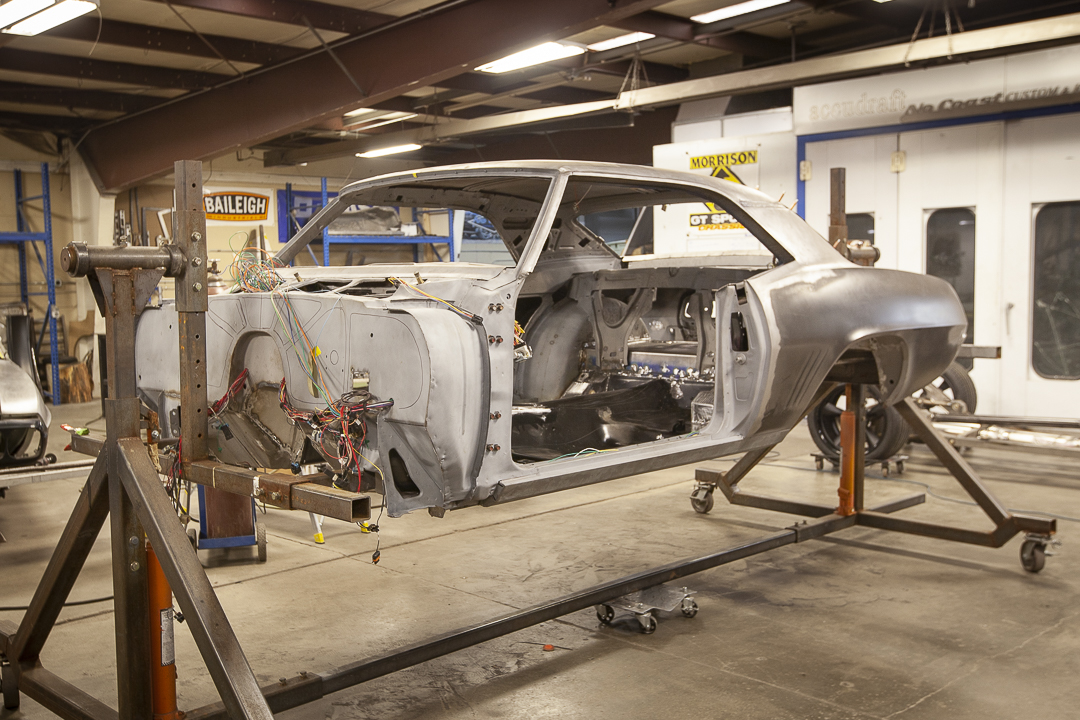 Rotisserie 69 Camaro metal work