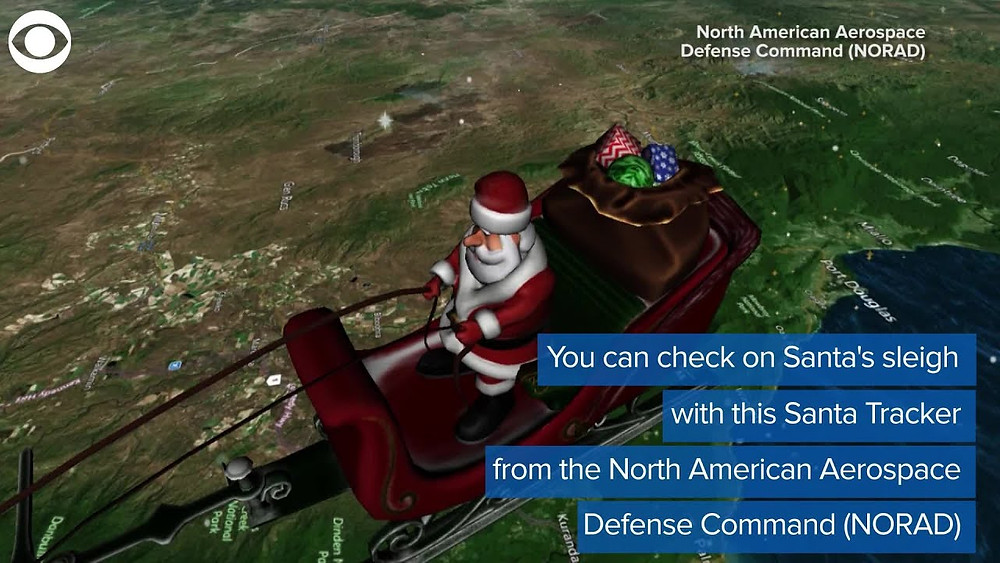 A digital illustration of Santa on his sleigh flying over a grassy area.