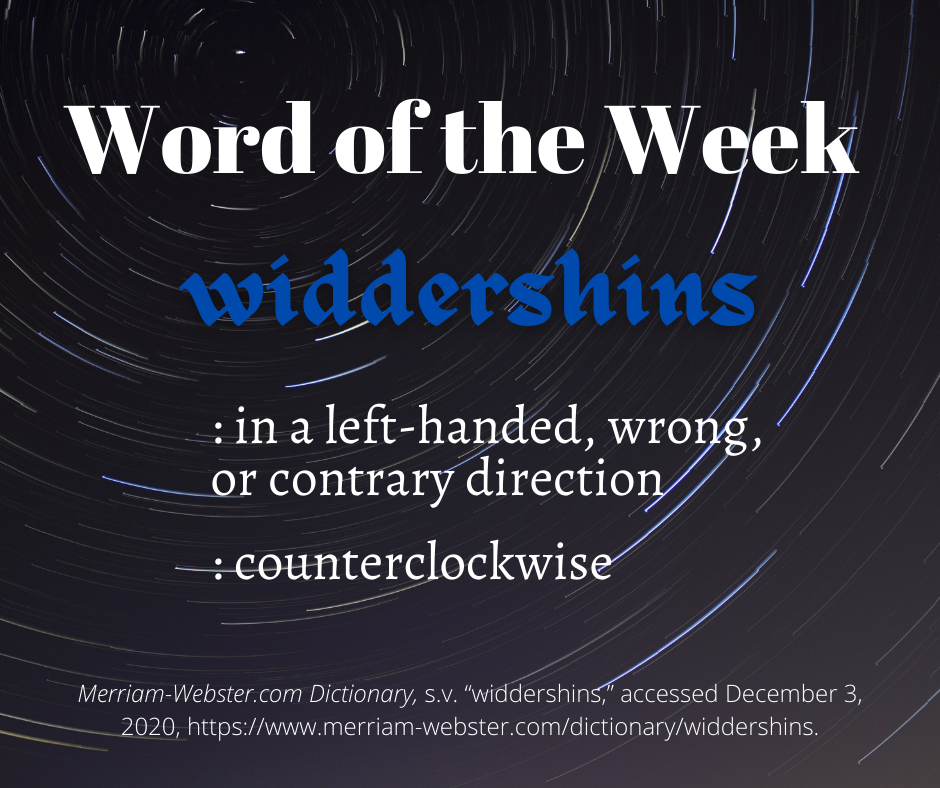 """A """"Word of the Week"""" graphic with the word """"widdershins"""" and its definition against a black background with blurred lights in a circle."""