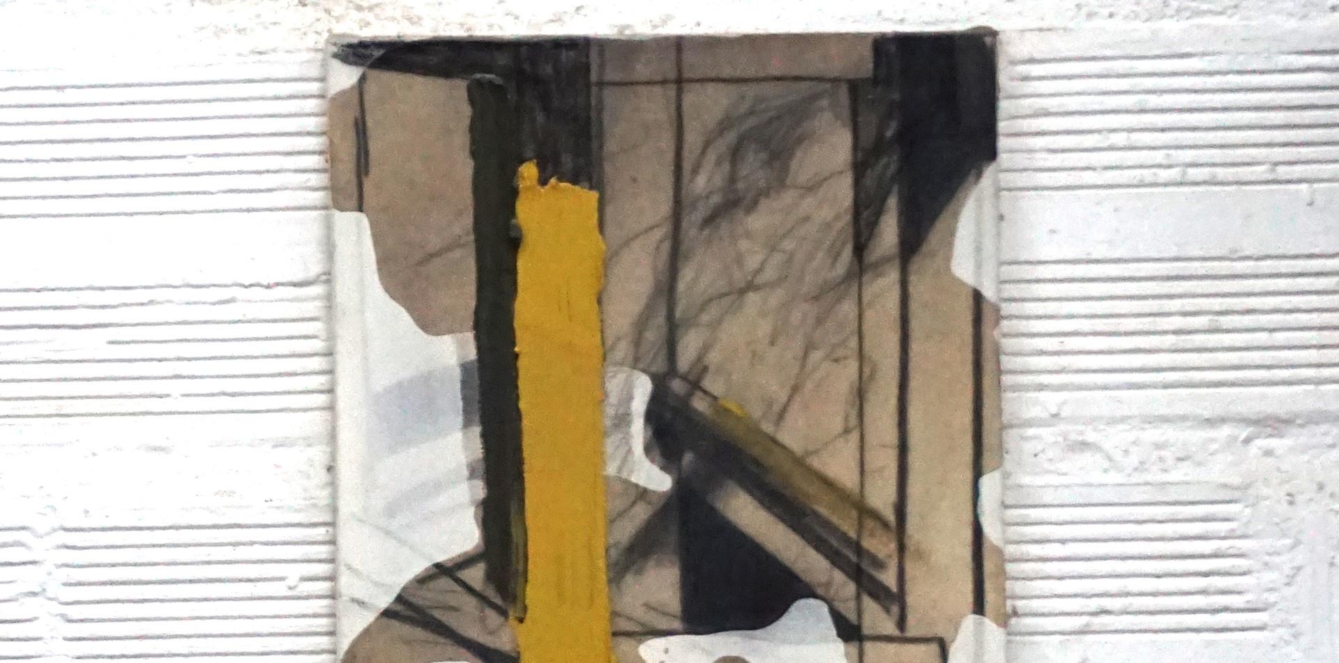 Planta e banco | 2017 Carvão, parafina e óleo sobre tela Tríptico 30 x 100 cm