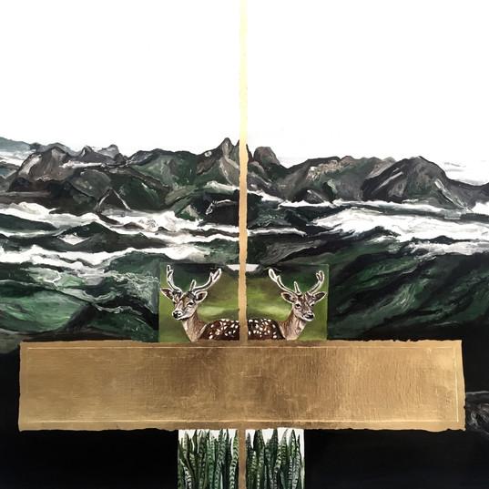 SANI GUERRA  Três Picos | 2016  Óleo e folha de ouro sobre tela 79 x 67 cm