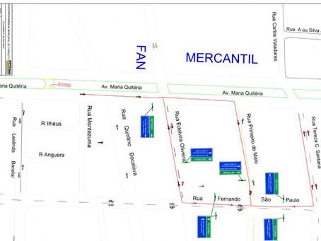 Trânsito sofre mudança em retorno da avenida Maria Quitéria a partir de segunda-feira