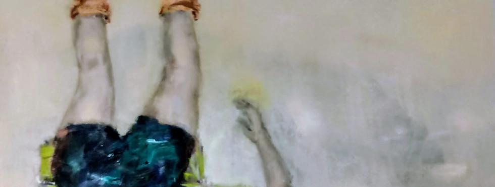 Entretanto | 2019 Acrílica, óleo e carvão sobre tela / Acrylic, oil and charcoal on canvas 145 x 145 cm