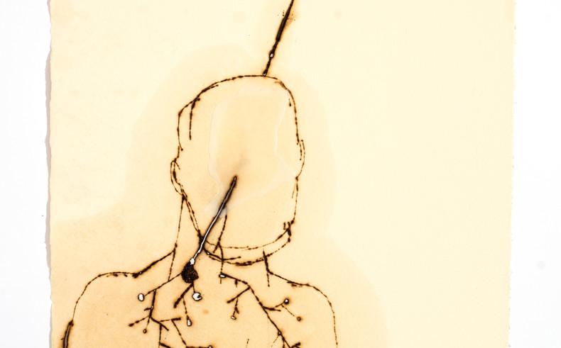 Série Limiar 16 | 2018 Desenho em pirografia e parafina sobre papel 30 x 40 cm