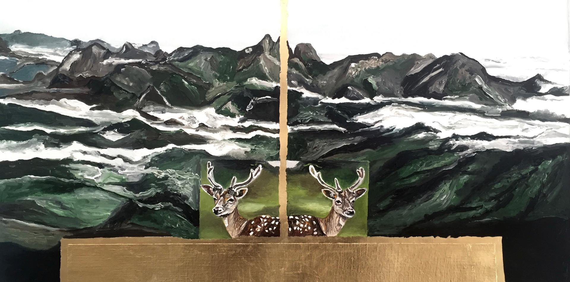 Três Picos   2016  Óleo e folha de ouro sobre tela 79 x 67 cm