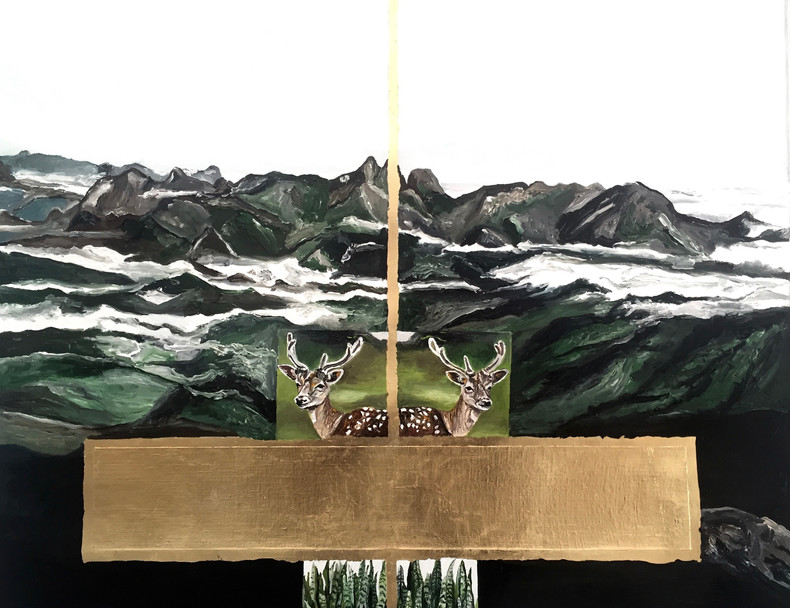 Três Picos | 2016  Óleo e folha de ouro sobre tela 79 x 67 cm