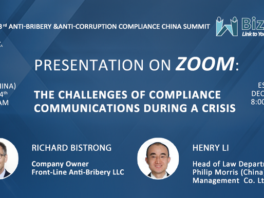 "Join me at the ""3rd Anti-Bribery & Anti-Corruption Compliance China Summit""!"