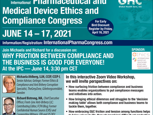 """Join me at the """"Virtual 14th Int'l Pharmaceutical & Medical Device Ethics & Compliance Congress""""!"""
