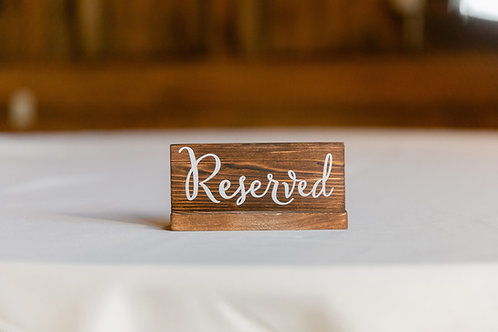 """Wooden """"Reserved"""" Table Sign"""