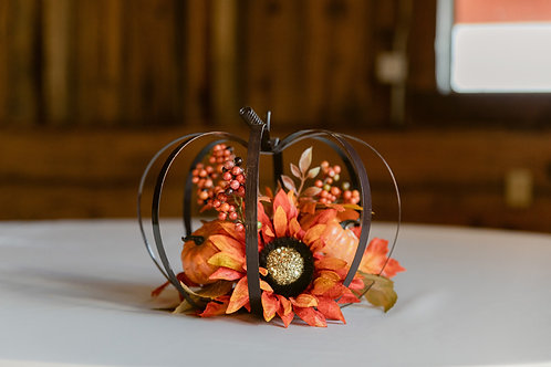 Metal Pumpkin and Floral Centerpiece