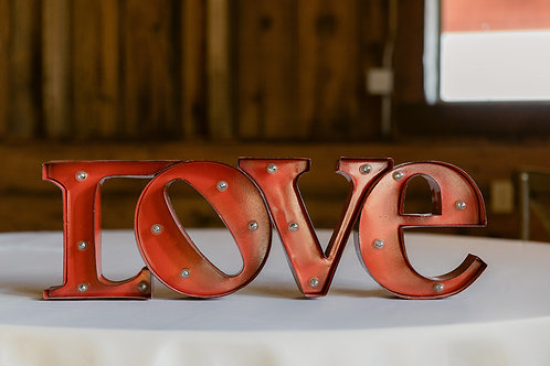Red Metal LOVE Light Up Sign