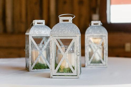 Trio of Galvanized Metal Lanterns