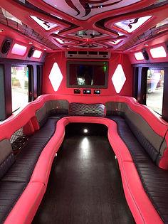 Pink Flamingo Limo Bus Interior - All Ab