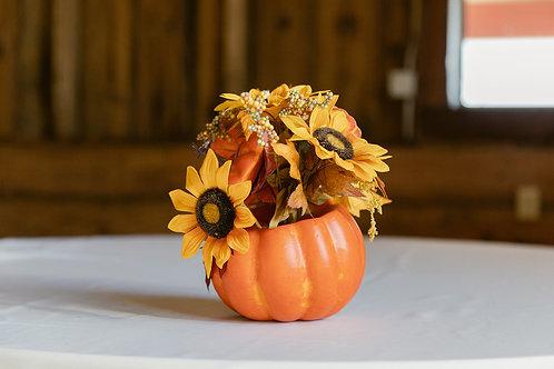 Ceramic Pumpkin and Sunflower Centerpiece