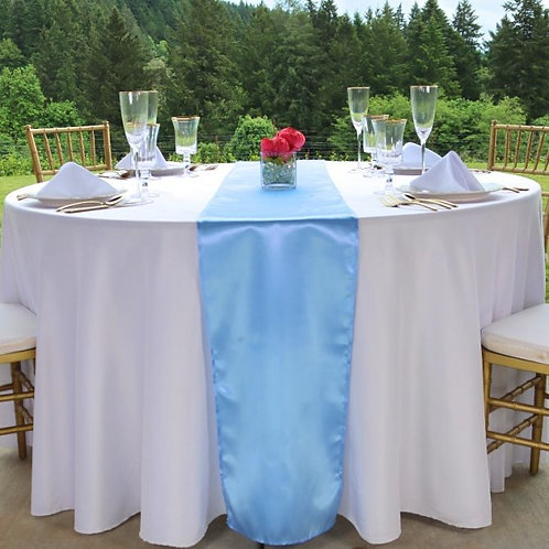Baby Blue Satin Table Runner