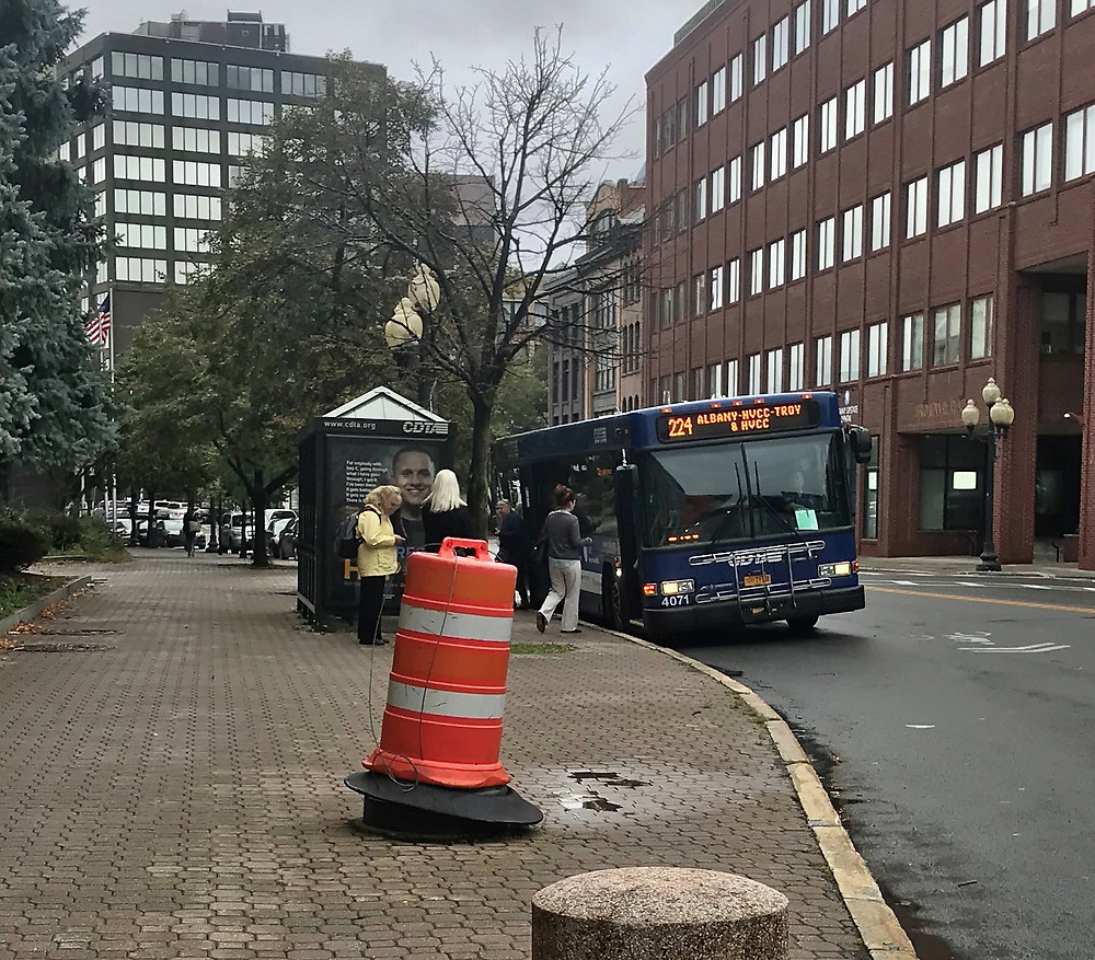 CDTA bus in downtown Albany. Oct 2, 2019.