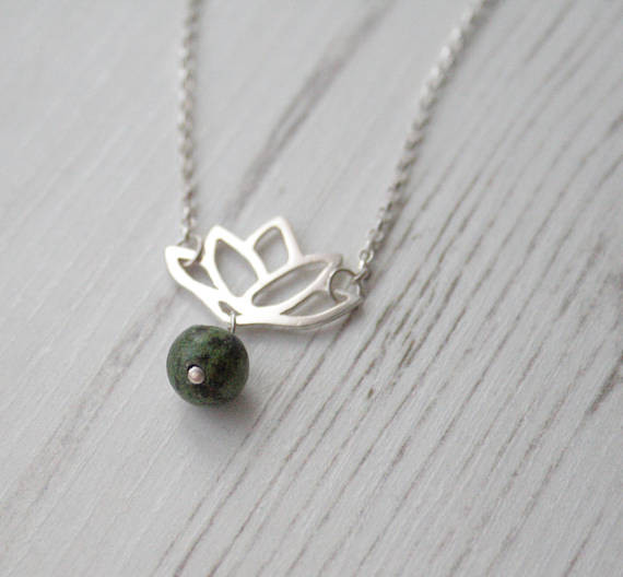 J. Aubrey Recycled Silver Lotus and Moss Agate Necklace