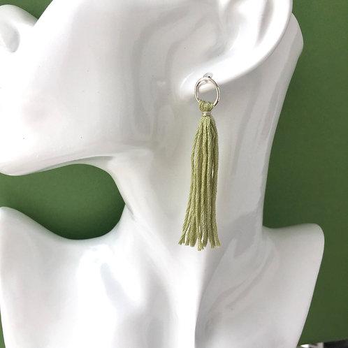 Grass Green Tassel Earrings