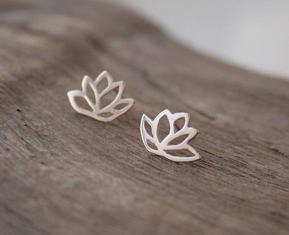 J. Aubrey Recycled Silver Lotus Studs