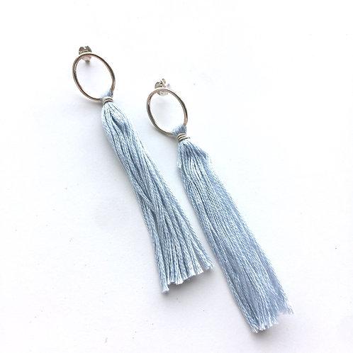 Sky Blue Tassel Earrings