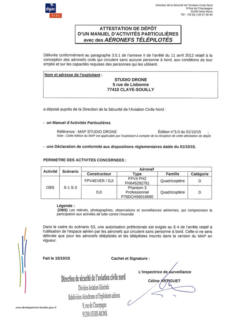 Attestation de MAP Studiodrone