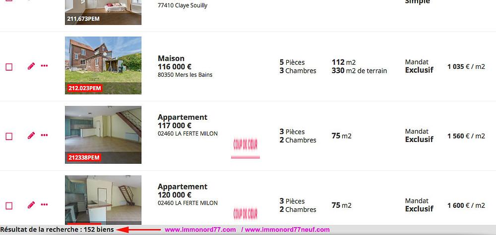 IMMONORD77 c'est plus de 150 annonces immobilières