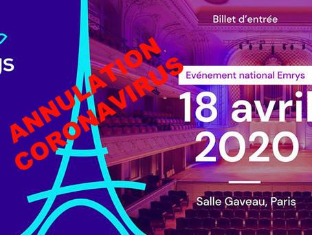 Annonce de Mr Rivière Wilfried PDG Emrys la Carte du 16 Mars 2020