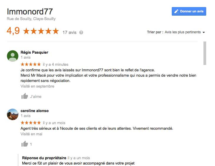 Avis clients pour Immonord77 - Immobilier de Claye-Souilly