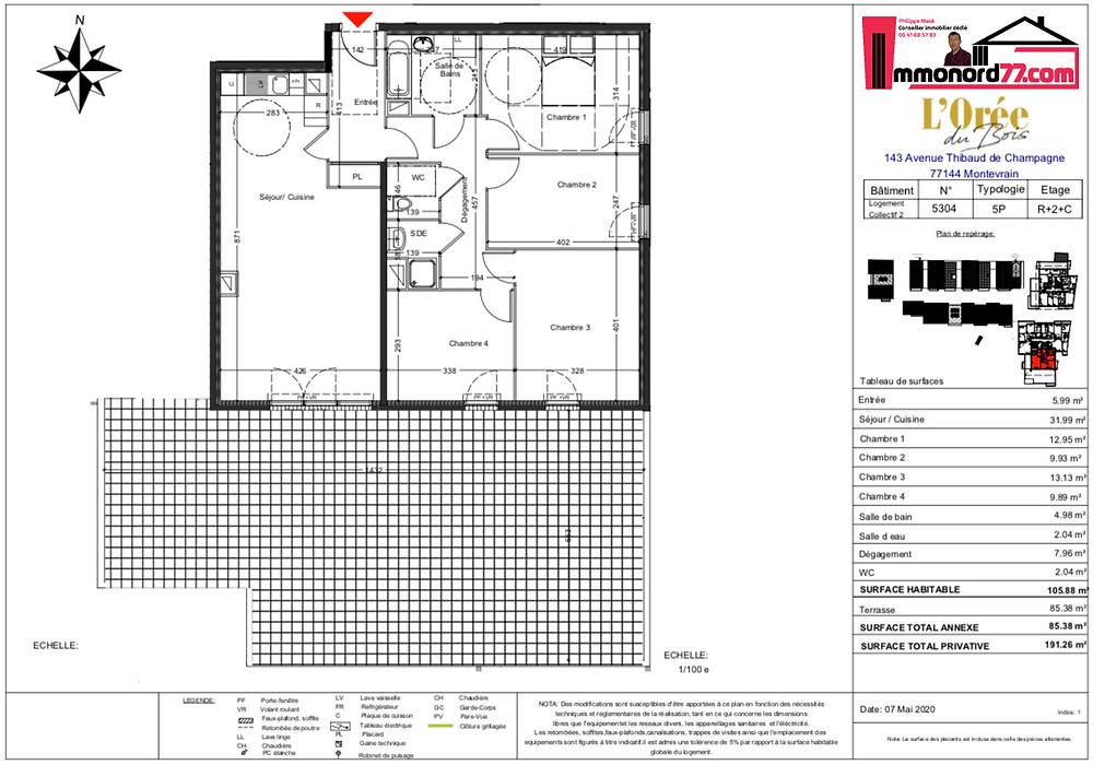 A vendre T5 Attique terrasse - 77144 Montévrain