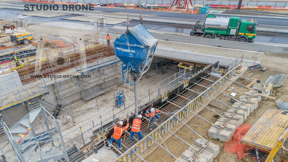Chantier Claye Souilly RN3-betonnage