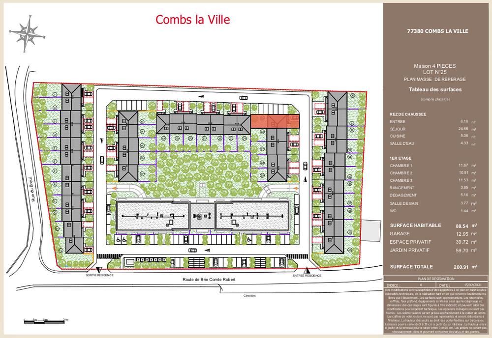plan de masse domaine du Breuil - Combs la Ville