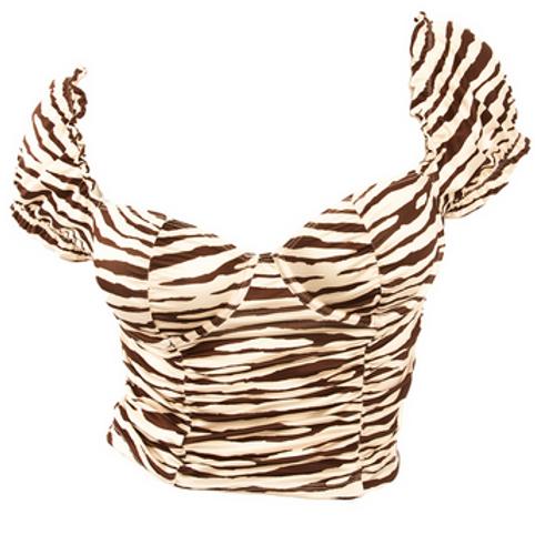 Jules - Zebra Milkmaid Crop Top