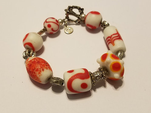 Red and White African Glass