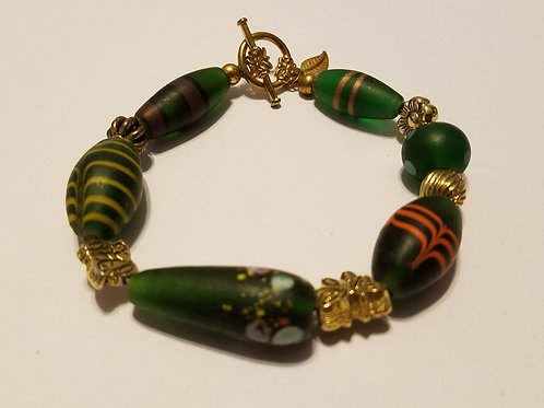 Green and Gold African Glass