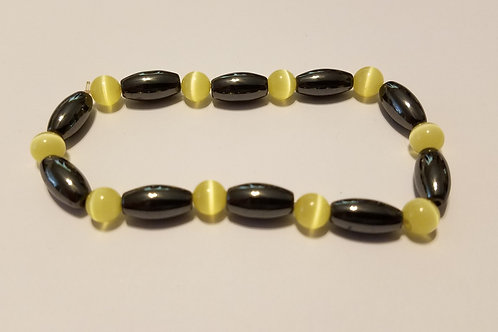 Yellow Cat's Eye and Black Ovals