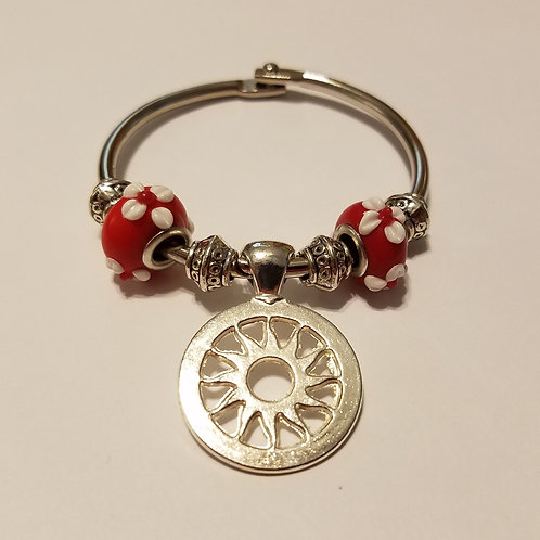 Sunburst with Red Beads Scarf Ring