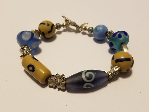 Blue and Tan African Glass