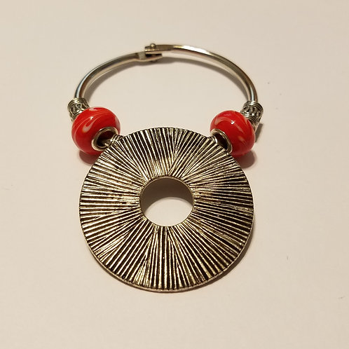 Textured Round with Red Beads Scarf Ring