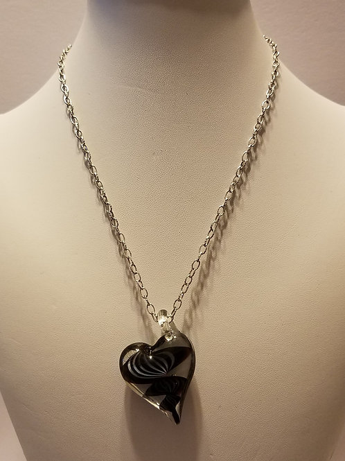 Black Swirl Glass Heart