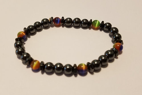 Rainbow Cat's Eye and Black Rounds